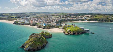 View of the bay around Tenby, Wales.